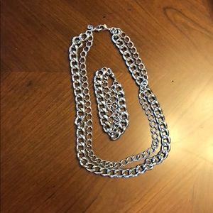 Stella & Dot Silver Chain Necklace Bracelet Set